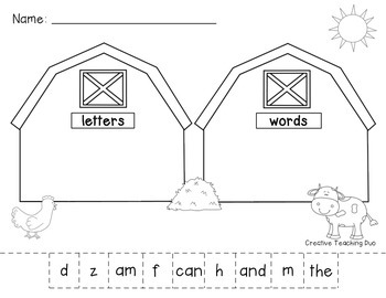 Farmer Word and Letter Sort