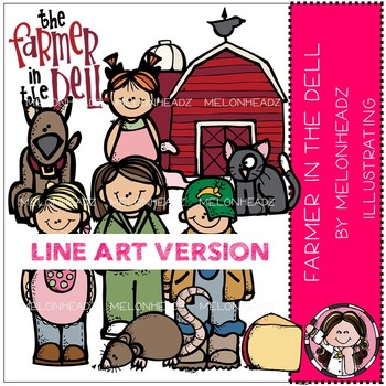 Farmer in the Dell clip art - LINE ART- by Melonheadz