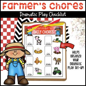 Farmer's Chores Checklist for Dramatic Play