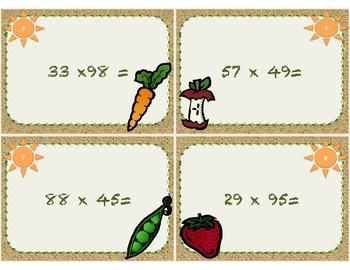Farmer's Market Themed 2 Digit Multiplication Task Cards
