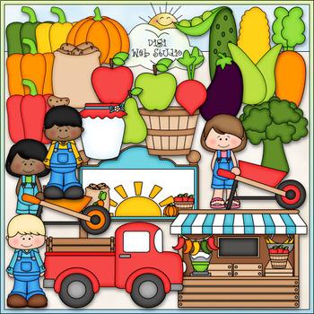Farmers Market - CU Clip Art & B&W Set