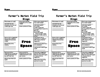 Farmers Market Field Trip BINGO and Notes
