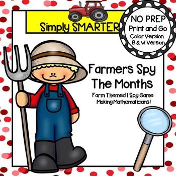 Farmers Spy The Months:  NO PREP Farm Themed Calendar Words I Spy Game