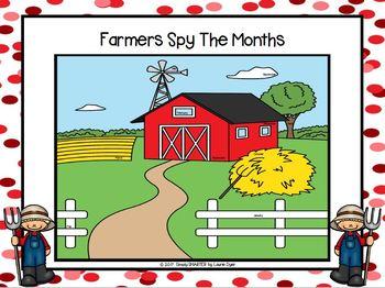 NO PREP Farm Themed Calendar Month Words I Spy Game