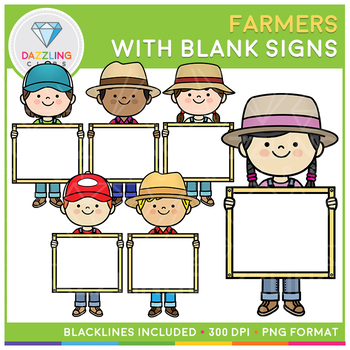 Farmers holding blank signs Clip Art