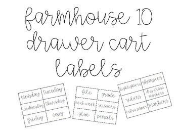 Farmhouse 10 Drawer Cart Labels