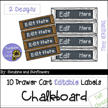 Farmhouse Themed 10 Drawer Cart Labels | Chalkboard