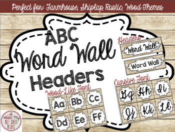 Farmhouse ABC Word Wall Headers in Shiplap FREEBIE