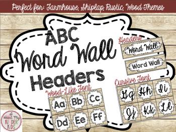Farmhouse ABC Word Wall Headers in Shiplap FREEBIE