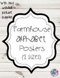 Farmhouse Alphabet Posters (2 sizes) With and Without Picture Support