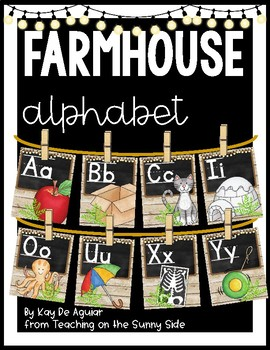 Farmhouse Alphabet Posters - Brown Shiplap