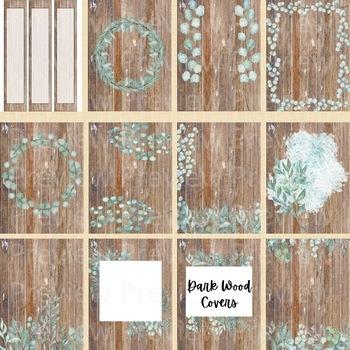 Farmhouse Binder Covers with Eucalyptus: Editable