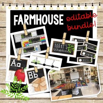 Farmhouse Brown Shiplap Decor - Editable