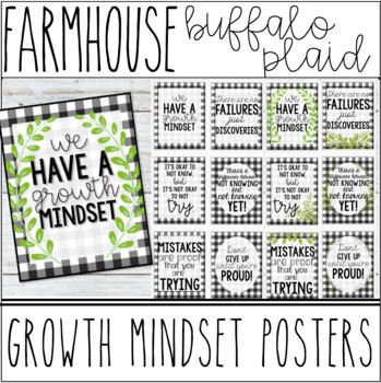 Farmhouse - Buffalo Plaid Growth Mindset Motivational Posters