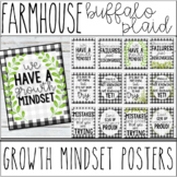 Farmhouse - Buffalo Plaid Growth Mindset Motivational Posters