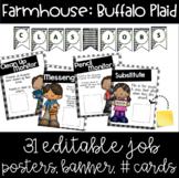 Farmhouse -  Buffalo Plaid Job Chart With Banner & Student