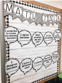 Farmhouse - Buffalo Plaid Math Talk Bulletin & Student Reference Sheets