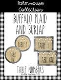 Farmhouse Buffalo plaid and burlap table numbers- 2 options-