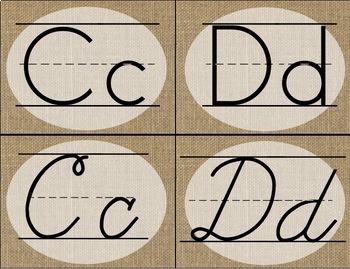 Farmhouse Burlap: Alphabet Cards / Banner / Posters (Print and Cursive)