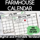 Farmhouse Calendar 2020-21   Digital and Printable Version