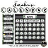 Farmhouse Classroom Decor Calendar Set (White or Chalkboard Versions)