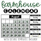 Farmhouse Calendar (editable)