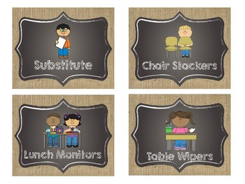 Farmhouse Chalkboard and Burlap Job chart