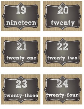 Farmhouse Chalkboard and Burlap Number Labels (1-24)