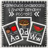 Farmhouse Chalkboard and Shiplap Alphabet Posters