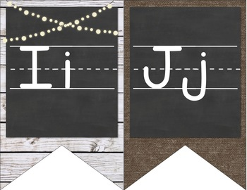 Farmhouse Chic Alphabet Bunting Banner - Burlap and Chalkboard