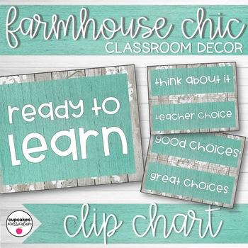 Farmhouse Chic Classroom Decor Clip Chart