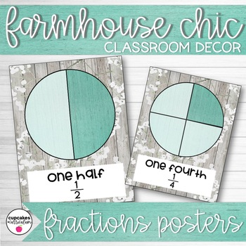 Farmhouse Chic Classroom Decor Fractions Posters