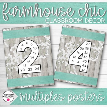 Farmhouse Chic Classroom Decor Multiples/Skip Counting Posters