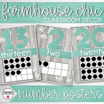 Farmhouse Chic Classroom Decor Number Posters