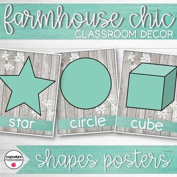 Farmhouse Chic Classroom Decor Shapes Posters