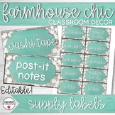 Farmhouse Chic Classroom Decor Supply Labels Editable