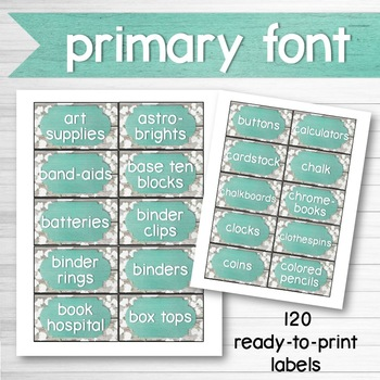 Farmhouse Chic Classroom Decor Supply Labels Editable