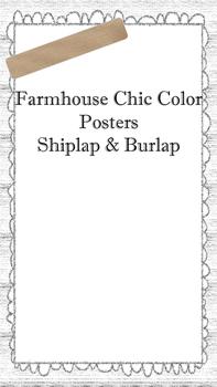 Farmhouse Chic Color Posters (Shiplap & Burlap)