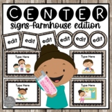 Farmhouse Chic EDITABLE Center Signs with EDITABLE tags, labels and cards