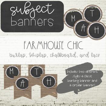 Farmhouse Chic EDITABLE Subject Banners - Burlap and Chalkboard