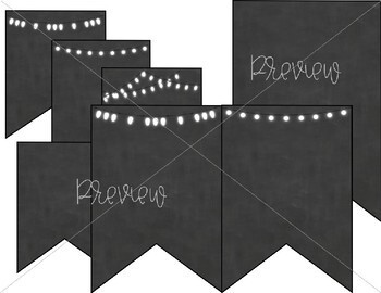 Farmhouse Chic EDITABLE Subject Banners - Chalkboard and Lights