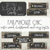 Farmhouse Chic Editable Schedule Cards - Rustic Wood, Chalkboard, and Lanterns