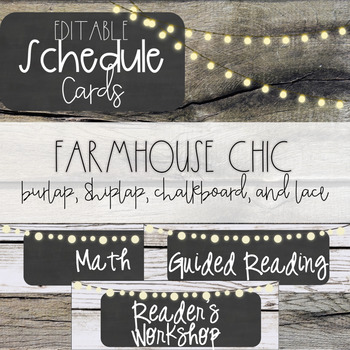 Farmhouse Chic Editable Schedule Cards - Shiplap and Chalkboard