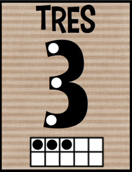 Farmhouse Chic Number Posters 1-20 in Spanish