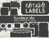 Farmhouse Chic White - Editable Labels - Shiplap and Chalkboard