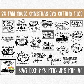Farmhouse Christmas SVG Cut file Bundle - 20 Christmas Images - Clip Art & More!