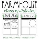 Farmhouse Class Newsletter - EDITABLE