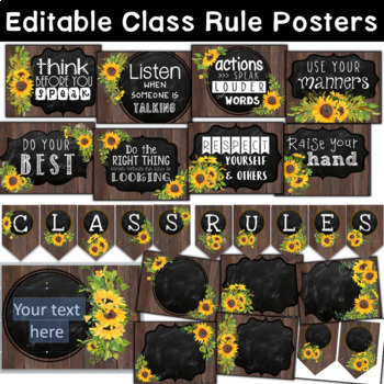 Farmhouse Sunflower Classroom Decor Theme BUNDLE