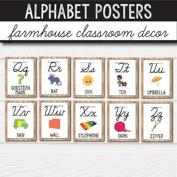 Farmhouse Classroom Decor - Alphabet Posters