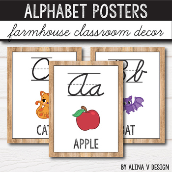 Farmhouse Classroom Decor - Alphabet Posters With Pictures